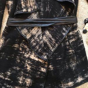 Inc cardigan with vegan leather trim